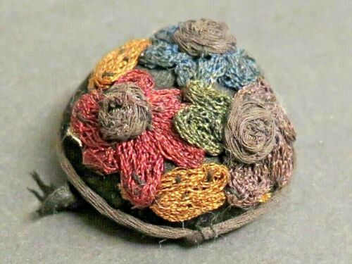 Antique Domed Embroidered Fabric Button - 3 Flowers with Raised Centers