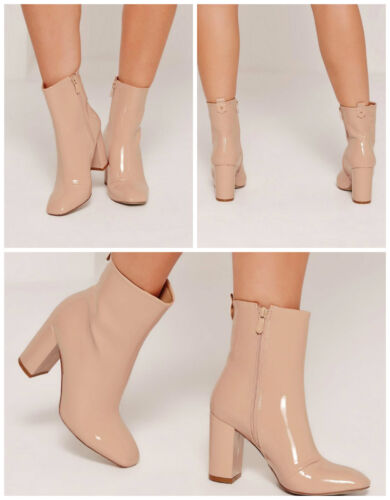 MISSGUIDED Patent Heeled Ankle Boots Shoes IN NUDE COLOUR MANY SIZES