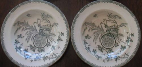 PAIR OF FABULOUS AESTHETIC PLATES - 1884 - CROWN POTTERIES ENGLAND YESSO PATTERN