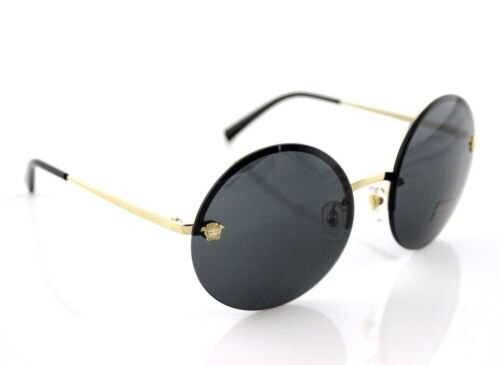 e0184f2d960 NEW Authentic VERSACE Pale Gold Grey Round Medusa Sunglasses VE 2176 1252 87