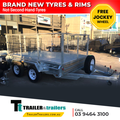 12x6 HEAVY DUTY TANDEM BOX 3FT CAGE TRAILER -GALVANISED- high sides - NEW WHEELS