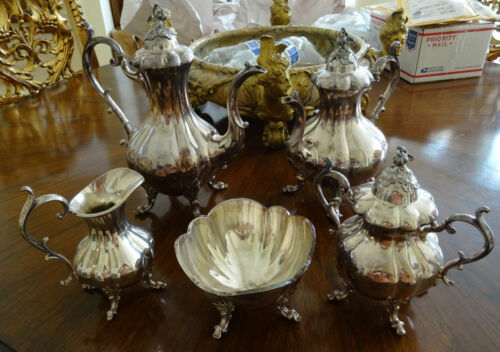 "Five (5) Piece Reed and Barton Silver Plated ""Winthrop"" Pattern Tea Service"