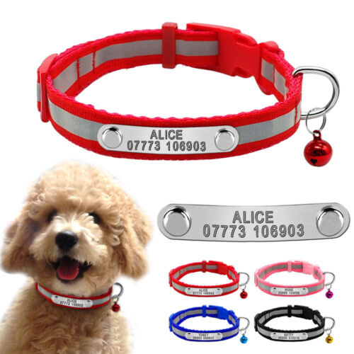 Reflective Personalised Dog Collars Puppy Small Dog Cat Collar & Bell Chihuahua