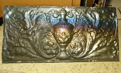 Antique Iridescent Victorian Ceiling Tin Tile Acanthus Flowers Urn Leaves Chic