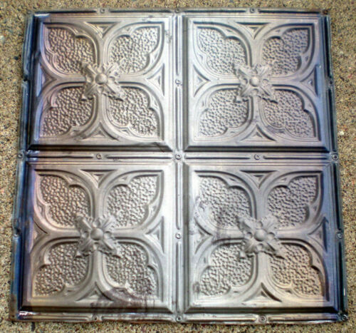 Antique Victorian Ceiling Tin Tile Gothic Quatrefoil Flowers Shabby Chic Cottage