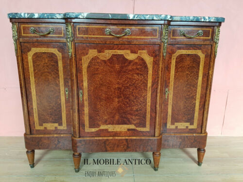 CREDENZA A 3 ANTE IN RADICA INTEGRA ORIGINALE EPOCA 900' RESTAURATA