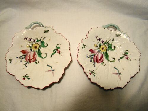 Pair Antique Creamware Hand Painted Cabbage Leaf Floral Handled Dishes 1770-1820