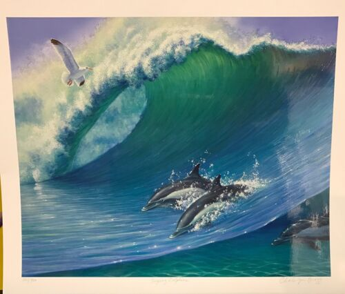 """Charles Lynn Bragg """"Surfing Dolphins"""" Giclee on Paper Embellished"""