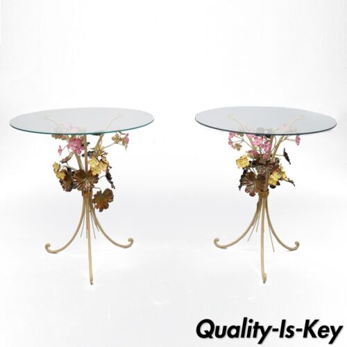 Pair of Vtg Italian Floral Tole Side End Tables Painted Metal Round Glass Top