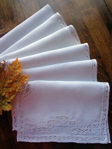 6 Antique Linen Placemats ITALY Handmade Reticella Punto Tirato Lace Embroidery