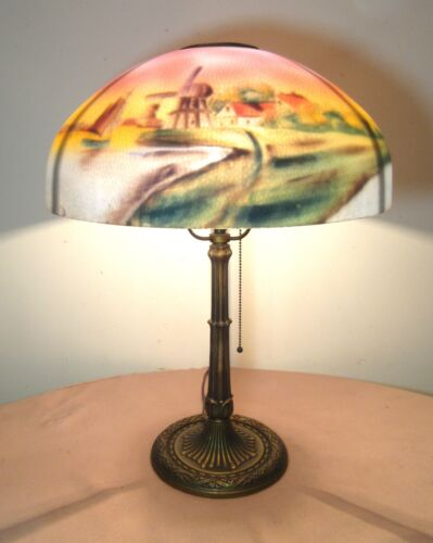 LARGE antique Edward Miller reverse painted glass ornate electric table lamp