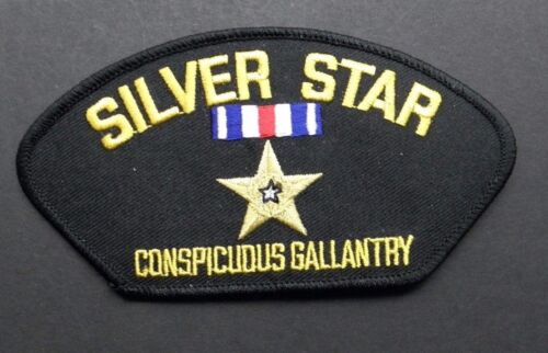 SILVER STAR EMBROIDERED CAP SHOULDER PATCH 5.25 X 3 INCHES