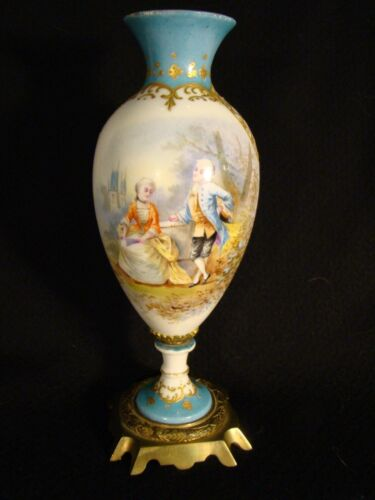 "French Porcelain Ormolu Signed Hand Painted Vase 8 1/2"" h Blue Sevres Louis Mark"