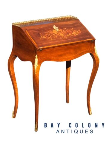 19th CENTURY FRENCH LOUIS XV MARQUETRY INLAID LADIES' DESK W/ORMALU DORE MOUNTS!