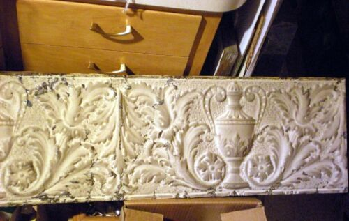Antique Victorian Ceiling Tin Tile Acanthus Leaves Flowers Urn Cottage Chic