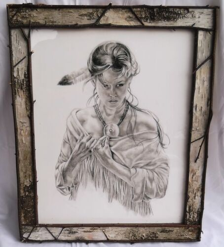 "LARGE 23"" NUDE INDIAN GIRL DRAWING PRINT+BIRCH BARK PICTURE FRAME Cowboy Western"
