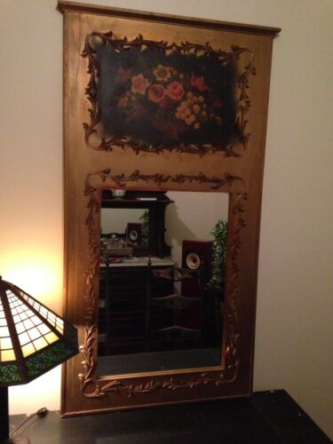 Antique GOLD Gilt Hand Painted Large MIRROR