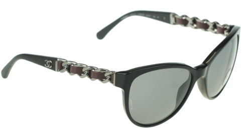 721ccb61e9870 POLARIZED NEW Authentic CHANEL Black Silver Chain Sunglasses CH 5215-Q c  1282 81