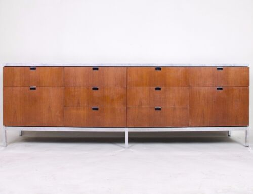 Florence Knoll Vintage Wood and Marble Credenza Cabinet Sideboard Stunning!