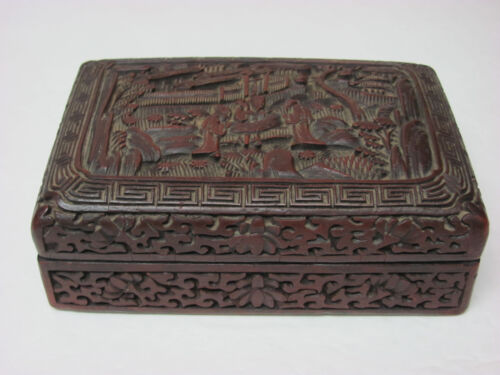 Fine Antique Chinese Qing Dynasty Carved Village Design Cinnabar Lacquer Box