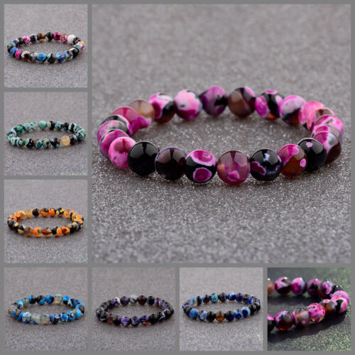Natural Lava Stone 8MM Colorful Beads Hand Beads Beaded Couples Bracelets Gift