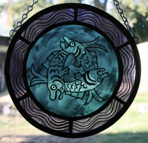 Stained Glass,Hand Painted,Kiln Fired, Swirling Fish Panel, Blue, #2600-06