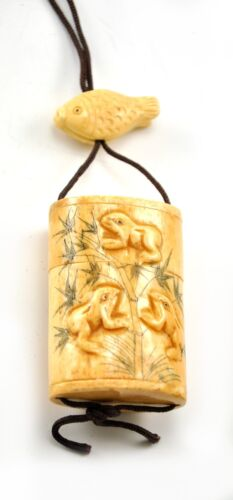 Vintage Bone Frog Bamboo Inro Netsuke Box Hanging Charm Case Storage Pouch