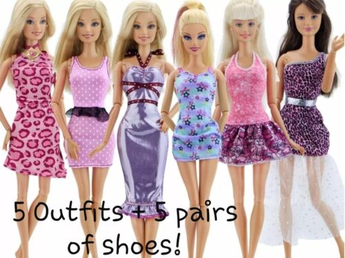 New Barbie doll random outfits clothes dress and shoes x5 good quality AU seller
