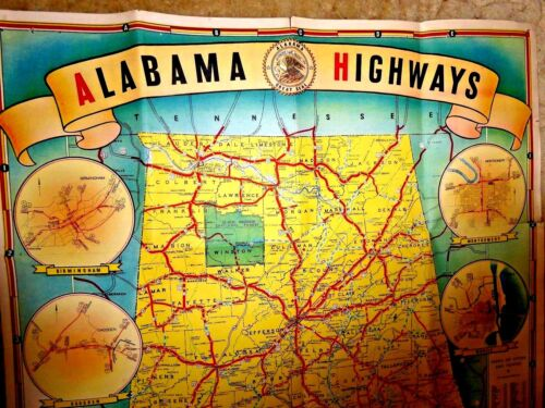 VINTAGE LOVELY HIGHWAY MAP ALABAMA W/SMALL CARTOON MAP 1939