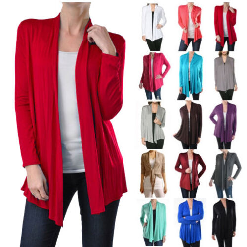 NEW USA Womens Long Sleeve Cardigan Open Front Draped Solid Irregular Hem