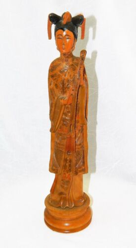 "~ GUANYIN KWANYIN FIGURE HAND CARVED BOXWOOD 13"" ~"
