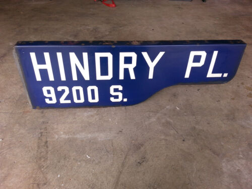 """Vintage Enamel Porcelain Double Sided Street Sign Hindry PL. 9200 S. 30"""" by 10"""""""
