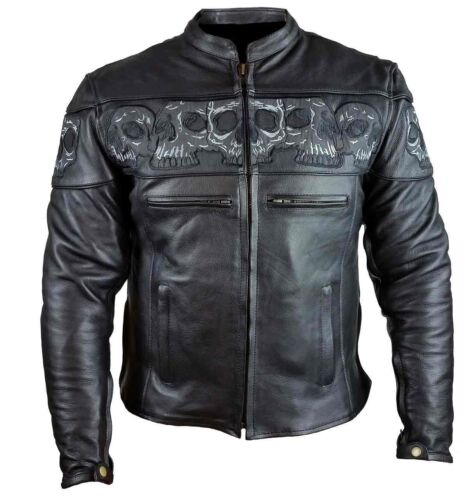 MEN'S MOTORCYCLE REFLECTIVE SKULL COWHIDE LEATHER JACKET WITH CONCEALED POCKETS
