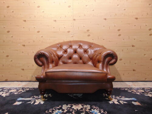Divano Chesterfield 3 Posti Vintage Originale Inglese in Pelle Colore Bordeaux