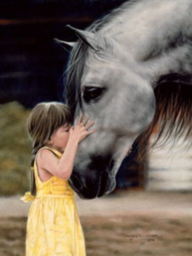 The Kiss By Lesley Harrison A Girl, A Horse, Print 12x16