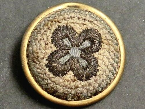 Vintage Gold Embroidered Fabric Button Set in Metal