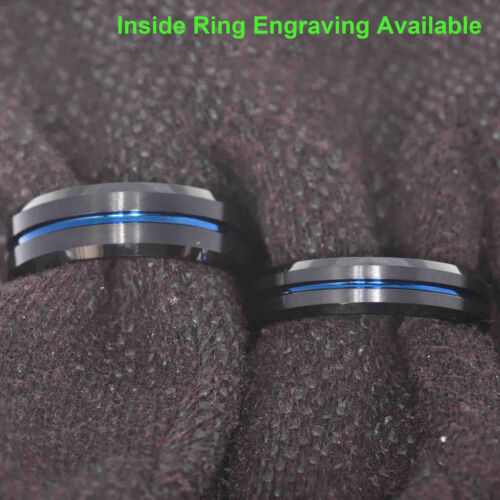 Tungsten Men's Ring Thin Blue Line Inside Black Brushed Band 6/8 mm