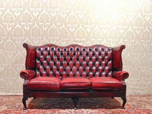 Divano Chesterfield Queen Anne 3 Posti Vintage Inglese in Pelle Colore Bordeaux