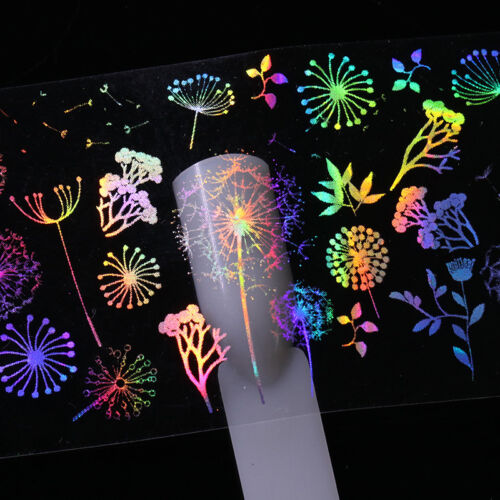 10pcs Holographic Nail Art Foil Rose Butterfly Dandelion Fire Transfer Stickers