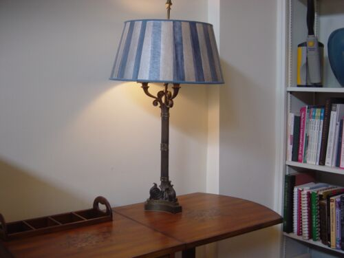 LARGE ANTIQUE BRASS BOUILLOTTE TABLE LAMP-3 scroll bugle arms