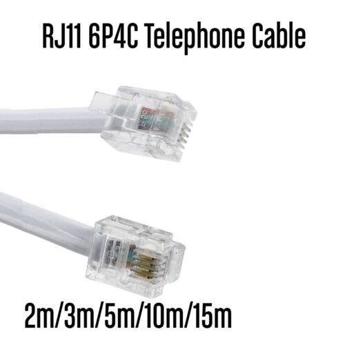5m 6P4C RJ11 RJ12 Telephone ADSL Cross Over Line Cord Cable Black Made in AU
