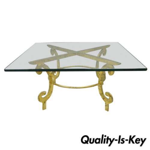 Vintage Gold Metal and Glass Italian Hollywood Regency Scrolling Coffee Table