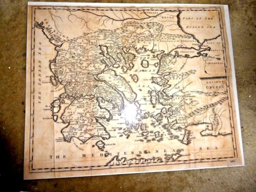 ANTIQUE MAP AEGEAN SEA ANCIENT GREECE VERY DETAILED MOUNTAINS ISLANDS 1805