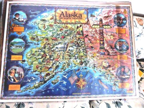 VINTAGE LARGE CARTOON MAP OF ALASKA NORTH FRONTIER TOTEM BY KLENGSTEN RUDE 1959