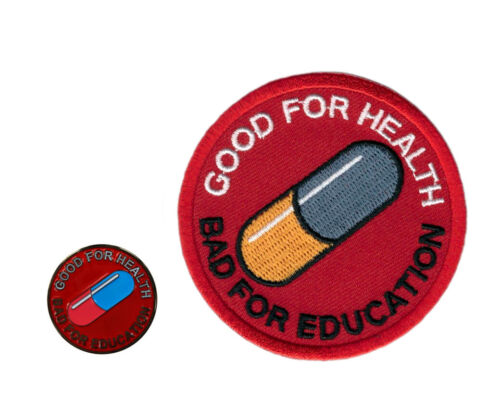 Pin + Patch Set: Akira Good For Health Bad for Education Cyberpunk Neo-Tokyo Parches - 4725
