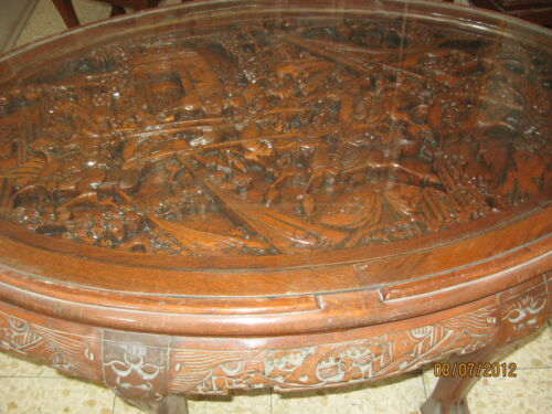 TABLE HAND CARVED WOOD COFFEE TABLE & PERSONAL TABLES JAPAN 1940's