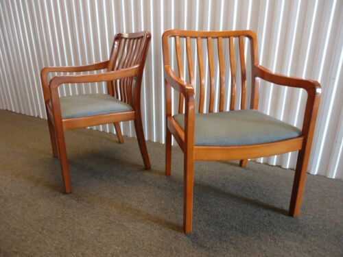 Gregson Pair of Guest Dining Arm Chairs Mid-Century Modern, Gray Fabric