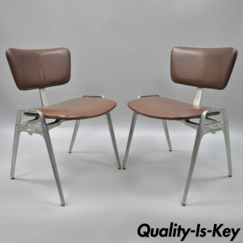 Pair Vtg Cast Aluminium Stacking Side Chairs by Crucible Mid Century Modern D