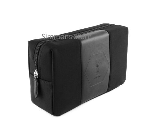 YSL BLACK TOILETRY WASH BAG MENS SHAVE TRAVEL POUCH BRAND NEW