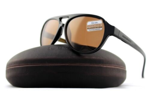 0b44fe4a34 POLARIZED Genuine SERENGETI GIORGIO Black Brown Drivers Pilot Sunglasses  8182